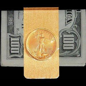 10 DOLLAR GOLD EAGLE 14K SOLID GOLD MONEY CLIP